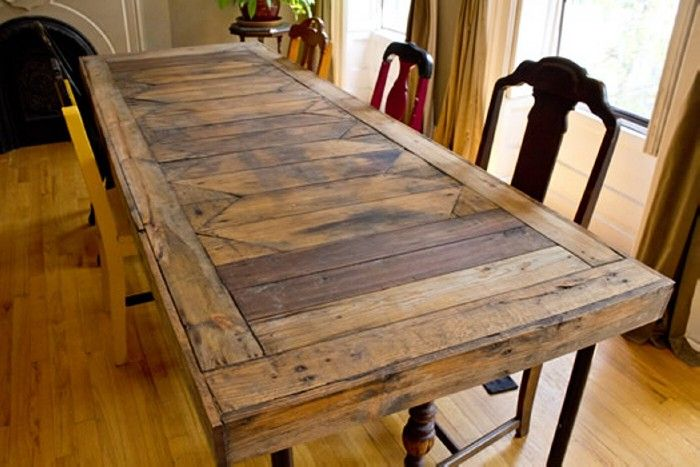 Diy recycled pallet dining tables pallet dining tables for Homemade dining room table ideas
