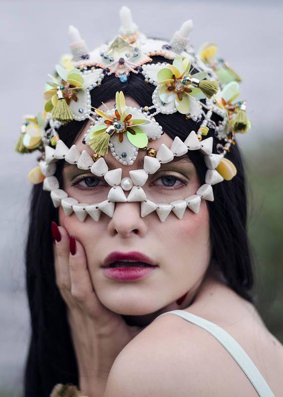 head mask, cocktail party head wear, green masquerade mask, burning man festival headdress, raven mask, goddess headpiece, Couture