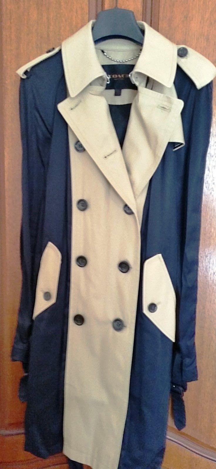Coach black satine and beige cotton ladies trench coat