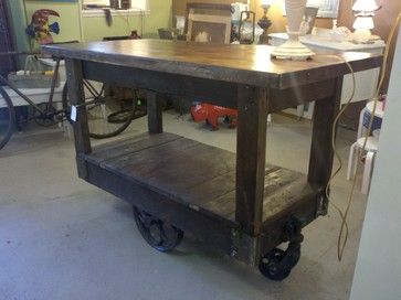 Kitchen Islands Made From Industrial Carts Custom Made Kitchen Island Using A Factory Cart Ecl Kitchen Nook Set Woodworking Plans Kitchen Kitchen Table Bench