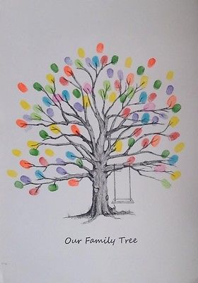 Christening A Wedding Personalised A3 Fingerprint Tree Guest Book Birthday