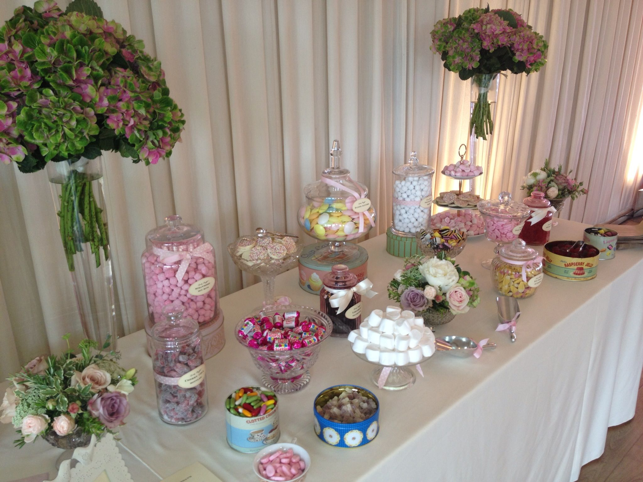 Wedding candy buffet viewing gallery bars
