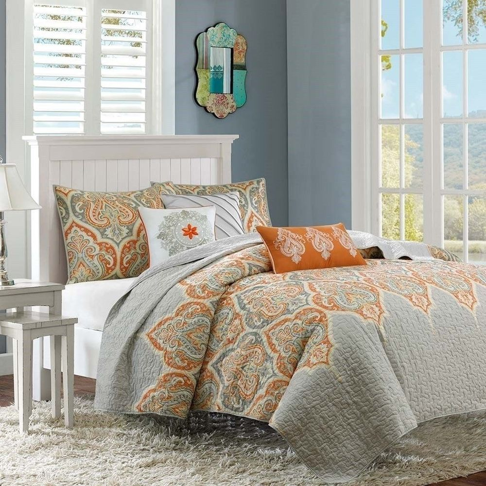 6 Piece Quilted Coverlet Set Taupey Grey & Orange With Pillows and Shams #MadisonPark #Contemporary