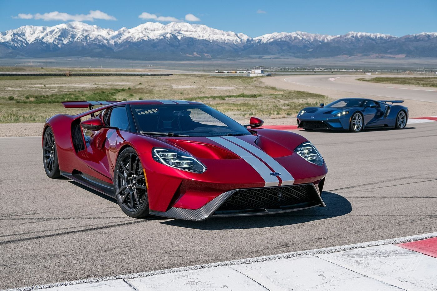 2017 Ford Gt Liquid Red With Liquid Blue In The Background