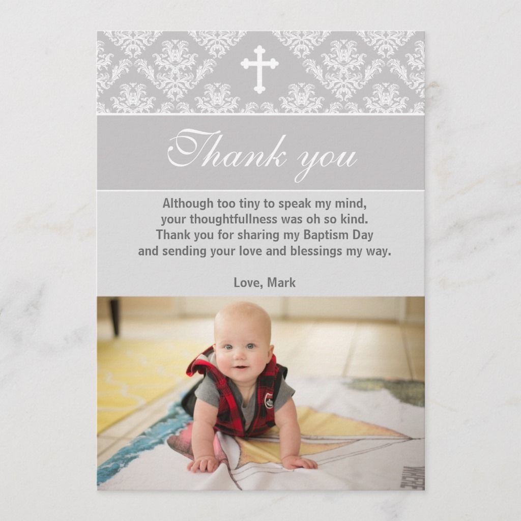 Baptism Thank You Note Christening Silver White