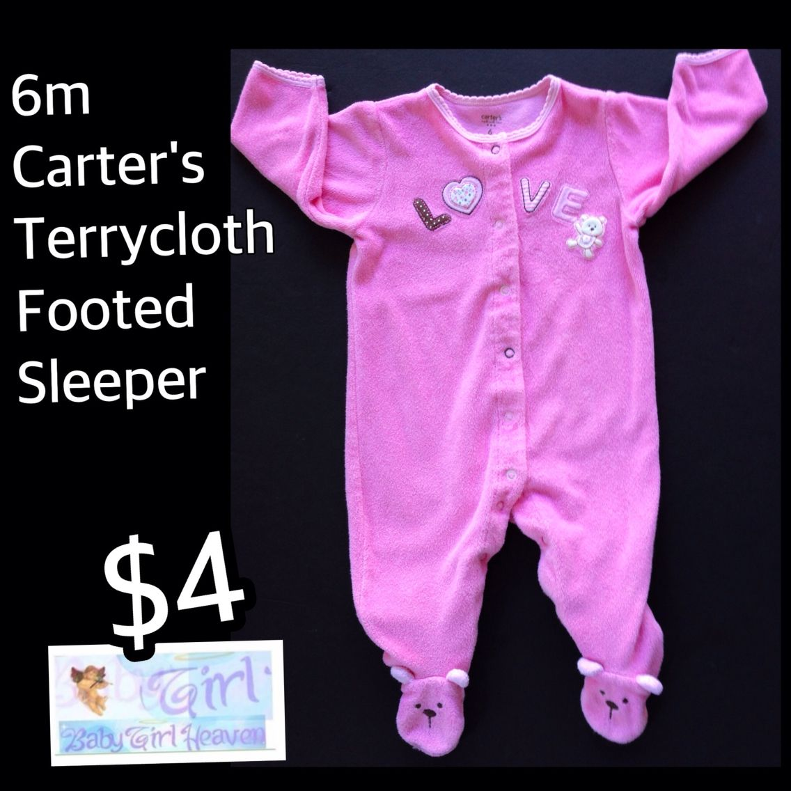 "6m Baby Girl Carter's ""Love"" Terrycloth Sleeper $4 EUC Buy this product right on Facebook https://admin.shoptab.net/linkbacks/221602827"