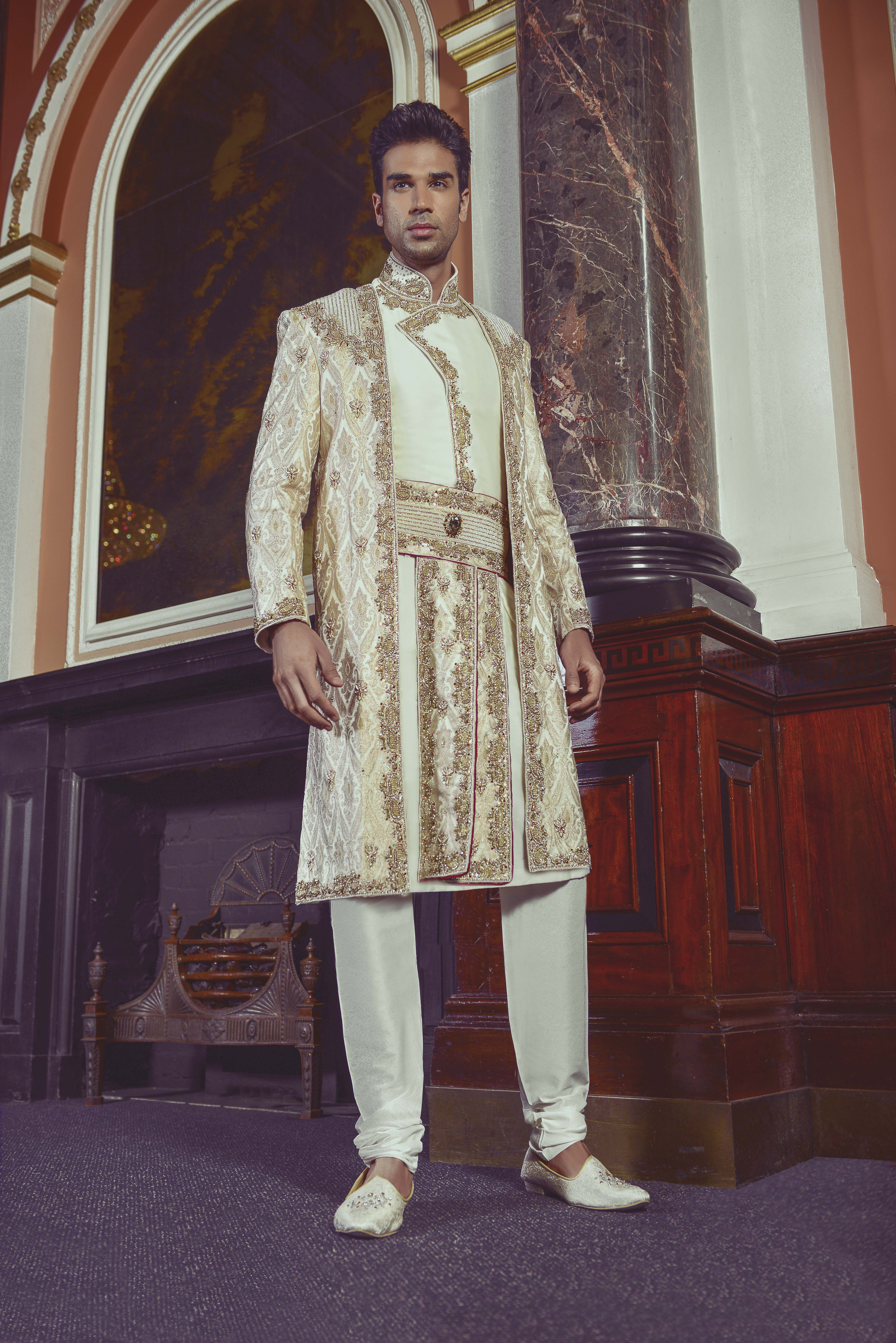 Three piece mens sherwani by cuckoo fashion t e