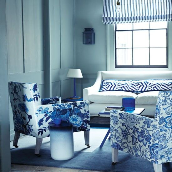 blue living room ideas. Floral Blue And White Living Room | Decorating Ideas Homes