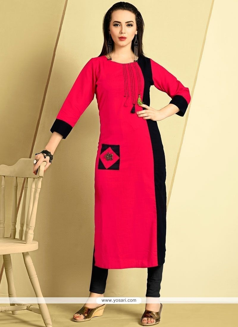 f3af48d9e6df Buy Plain Work Cotton Hot Pink Party Wear Kurti Online from India at  yosari.com . Model: YOKU2001, Express Worlwide Shipping, 14 Days 100%  return policy