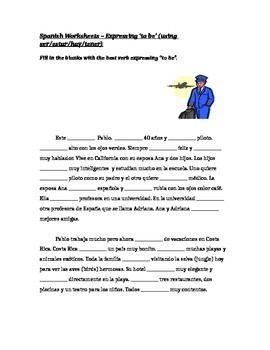 ser or estar spanish worksheet differentiated cloze activity spanish worksheets worksheets. Black Bedroom Furniture Sets. Home Design Ideas