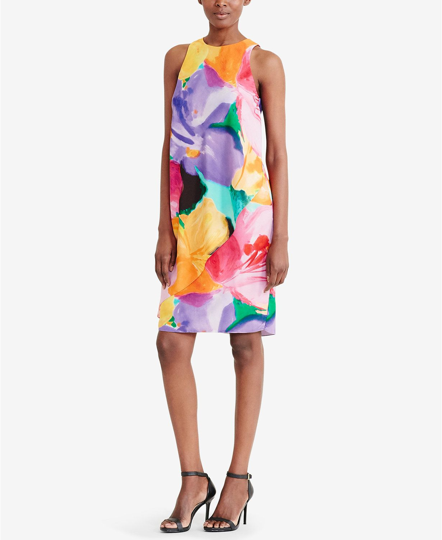 bed7322c6a90 Lauren Ralph Lauren Floral-Print Crepe Dress | macys.com | Macy's ...