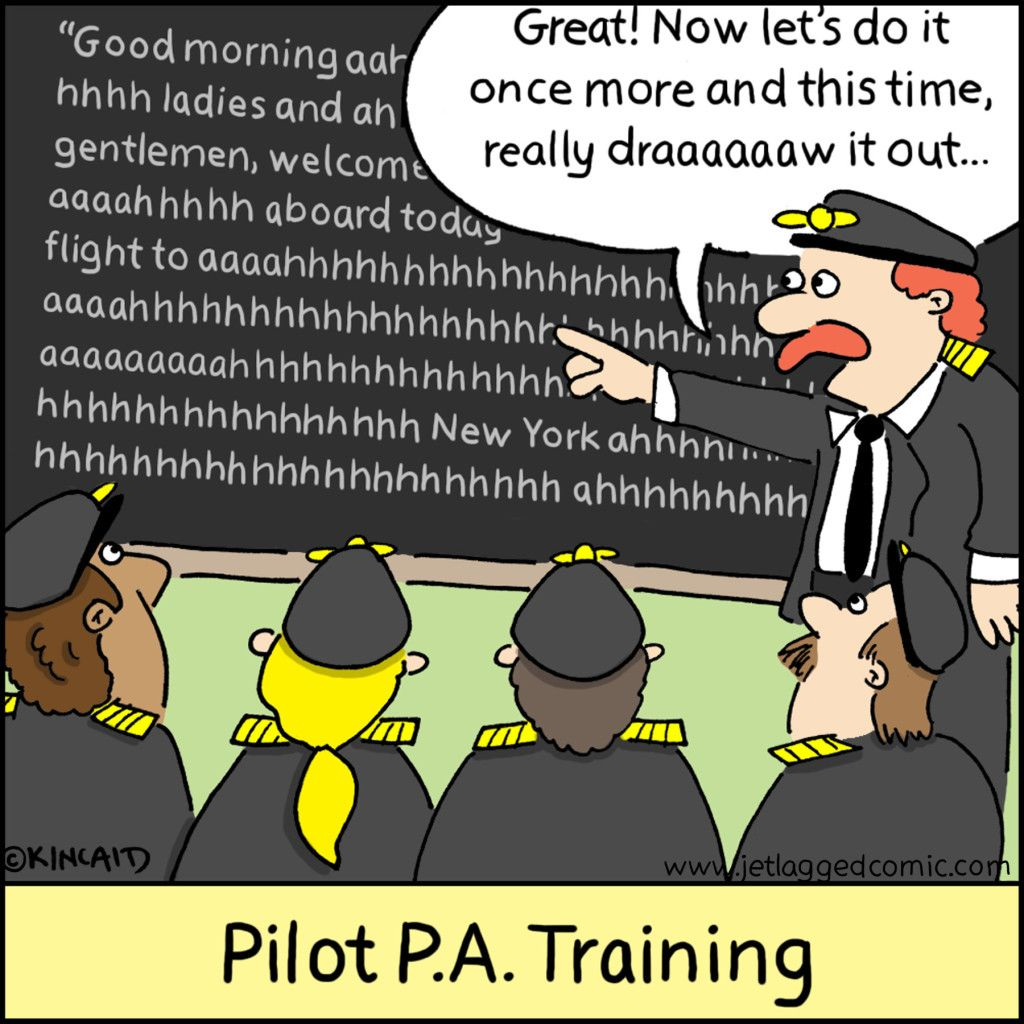pilot pa training ! This is soooo funny Flight attendant