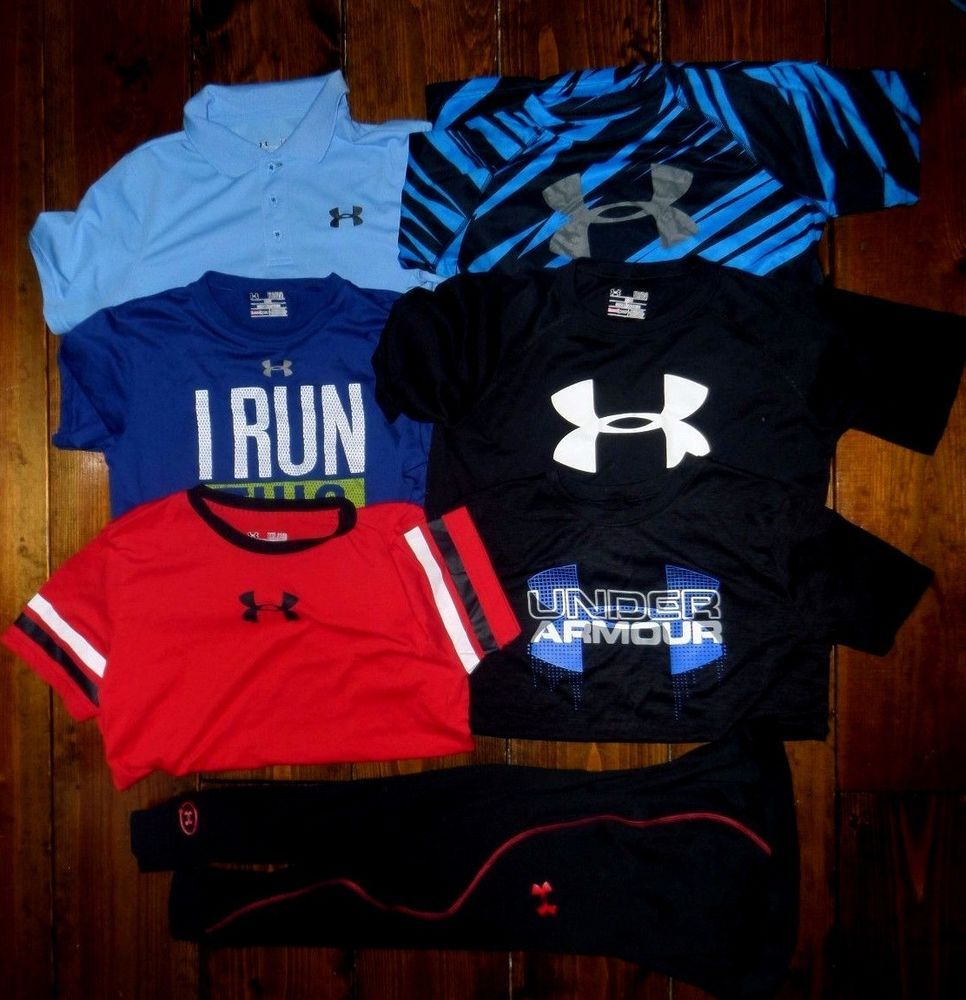Boys Under Armour Youth Large Xlg Lot 6 Shirts Cold Gear Fitted Leggings Vgc Underarmour Everyday Workout Leggings Cold Gear Under Armour