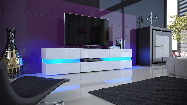 Meuble Tv Armoire Basse Flow Corps En Blanc Haute Brillance Facades En Blanc Laque Haute Brill Eclairage Sous Meuble Cuisine Meuble Tv Haut Meuble Tv Design