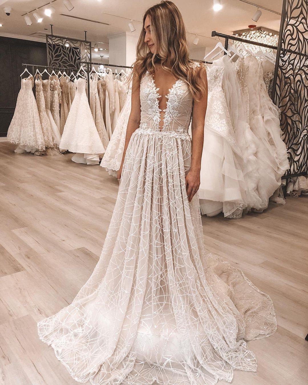 Galia Lahav Plunge Neckline Sparkle Wedding Gown In 2021 Online Wedding Dress Sparkle Wedding Dress Indian Wedding Dress Designers [ 1350 x 1080 Pixel ]