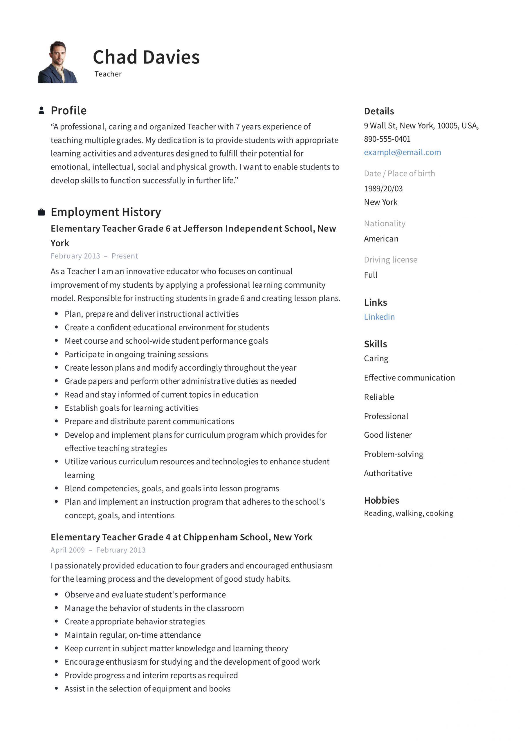 Elementary Teacher Resume in 2020 Teacher resume