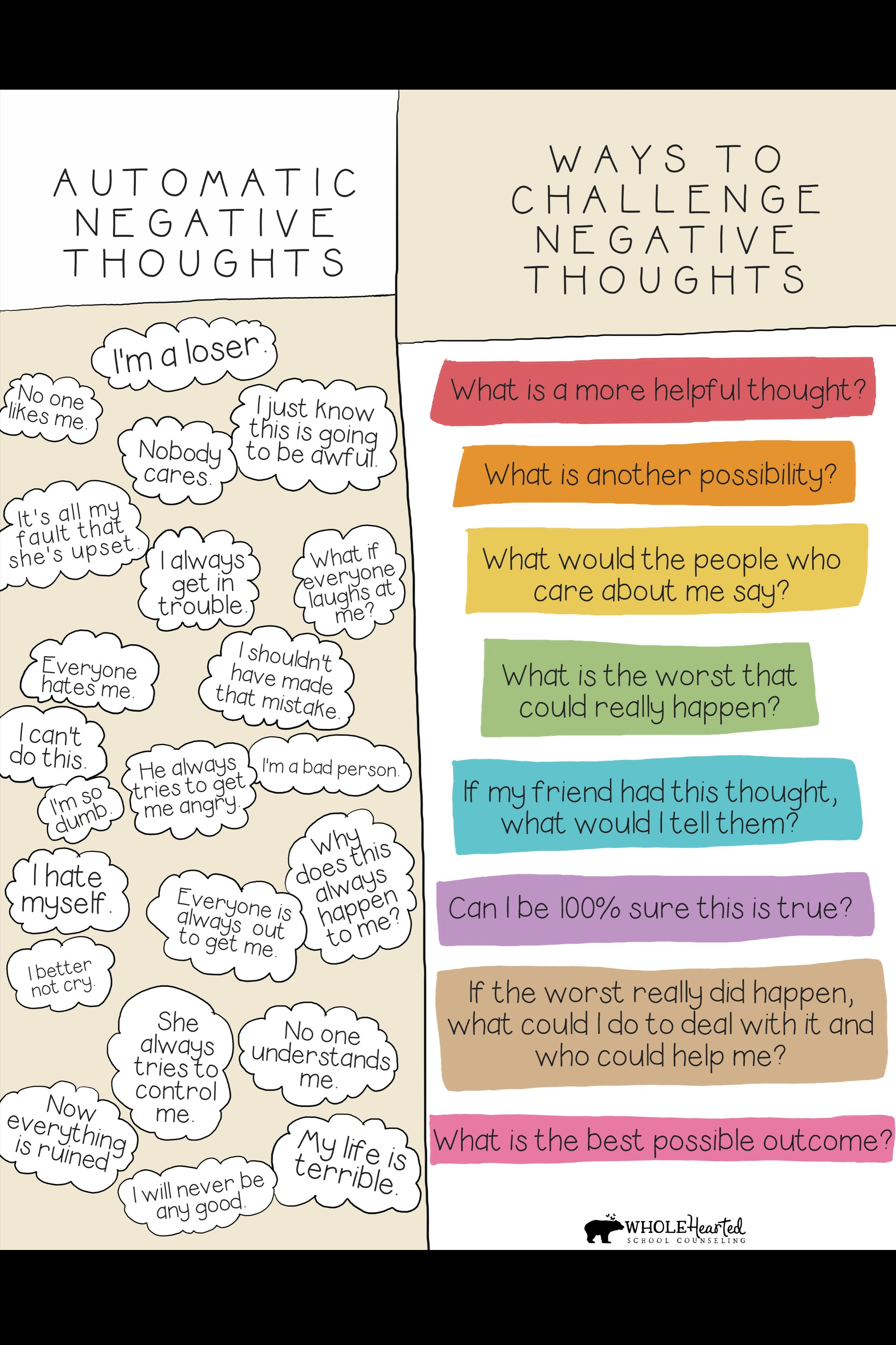 Teachers Parents Get Your Free Poster To Help Your Young Ones Challenge Automatic Negative T In 2020 Cognitive Behavioral Therapy Negative Thoughts Behavioral Therapy