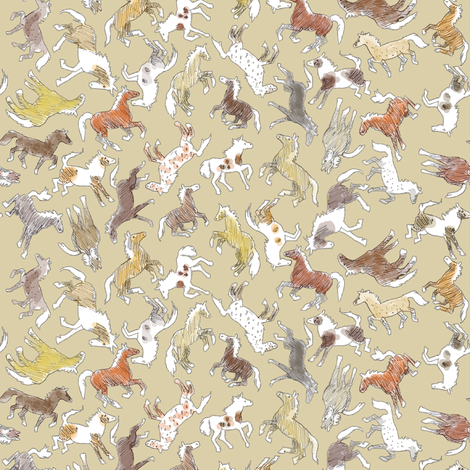 Wild Horses, Tinted on Beige fabric by eclectic_house on Spoonflower - custom fabric