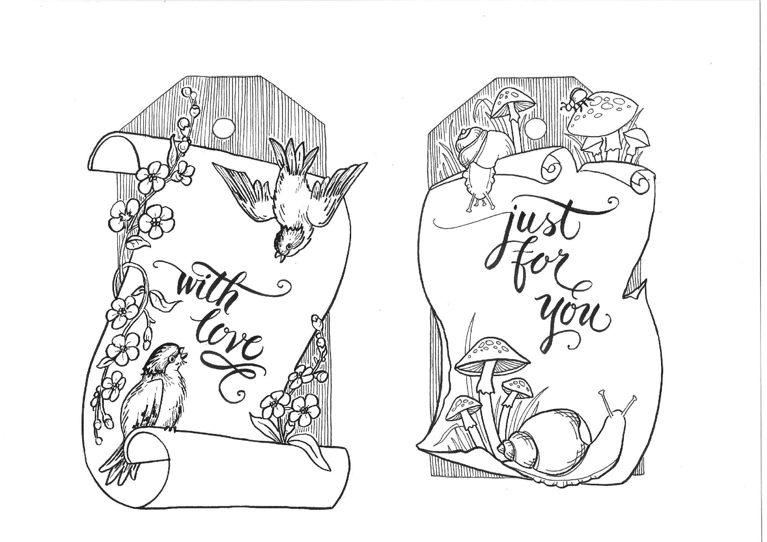 Vintage Tags Coloring Page illustrated by Marie Browning | digi ...