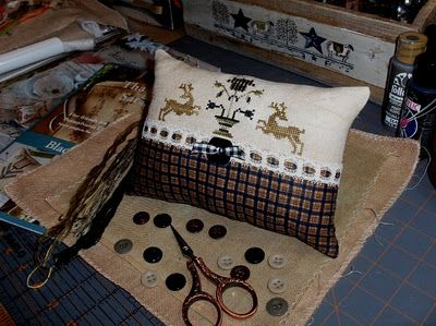 Motifs taken fr. the Morning of Life Sampler in the Sarah Tobias book by Blackbird Designs. Stitched and finished by BeckySC