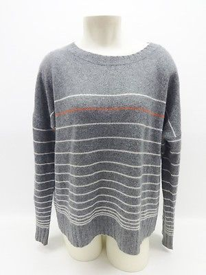 360 Cashmere Gray Striped Long Sleeve Scoop Neck Cashmere Sweater ...