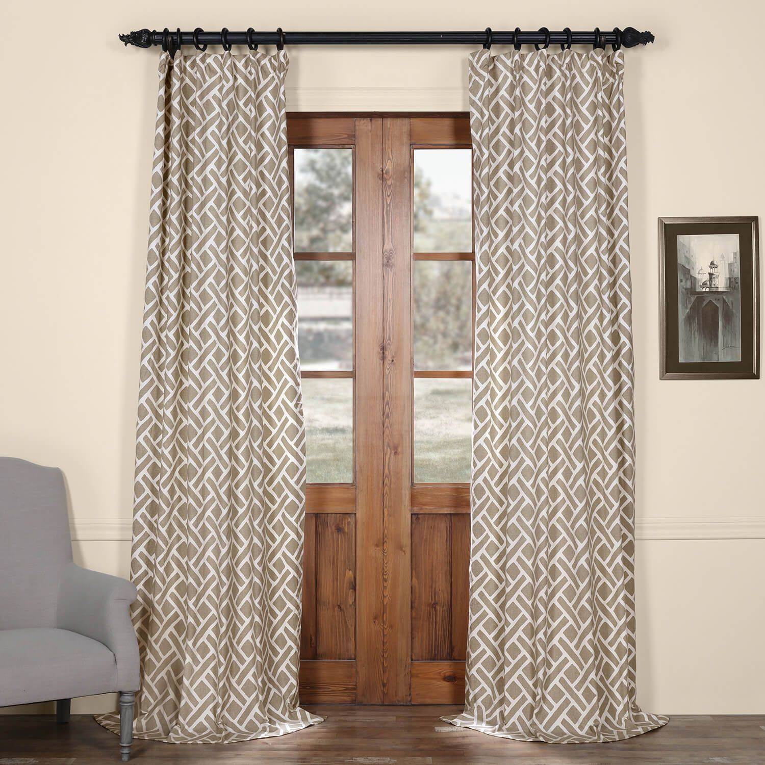 Get Martinique Taupe Printed Cotton Curtain And Drapes Printed