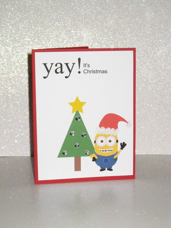 ad985f9852740 Minion Despicable Me Yay It s Christmas Holiday by GlitterInkCards ...