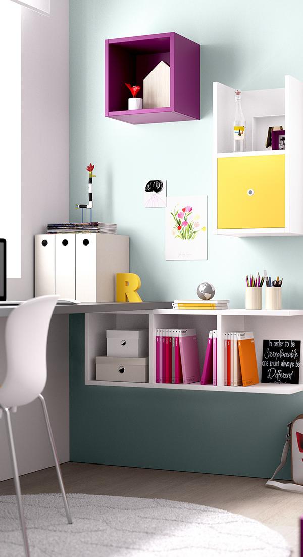 Mueble melamina blanco y lavanda, muebles de melamina, dormitorio ...