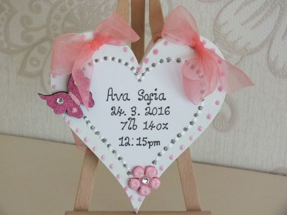 Personalised Hand Made Baby Birth Plaque Girl Heart Door Plaque Wall