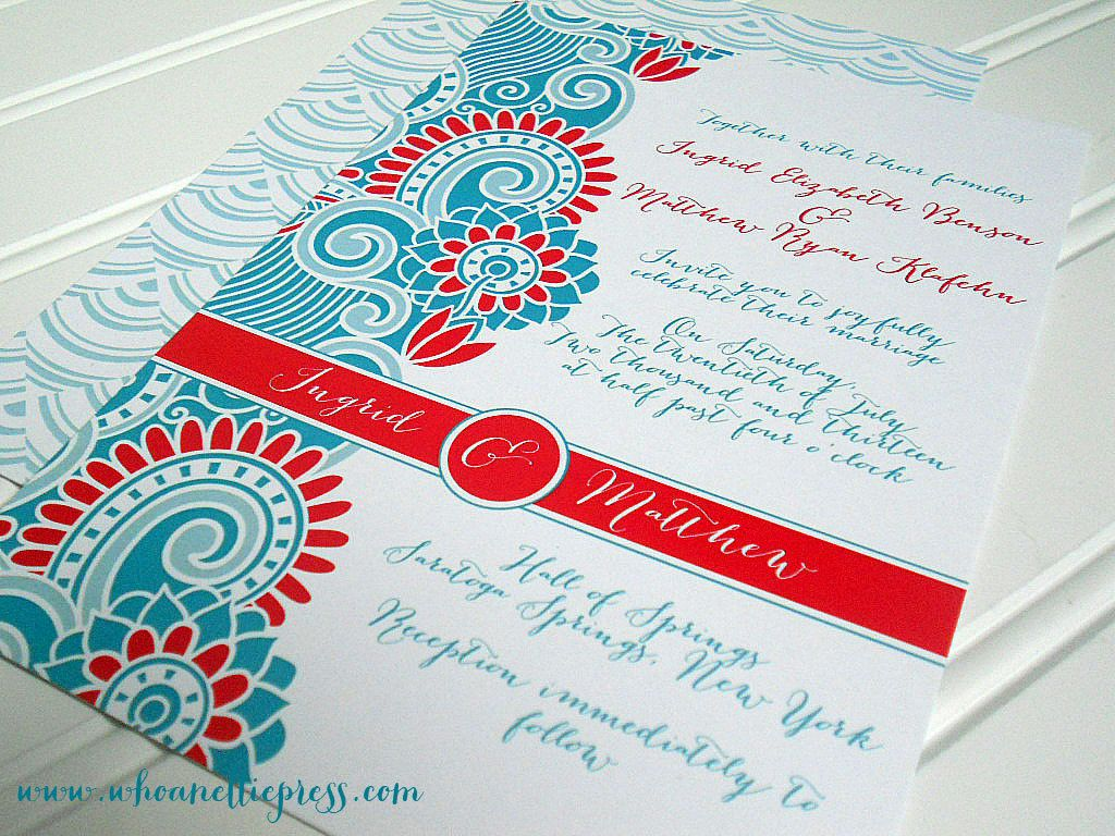 Indian/Paisley Wedding Invitations by WhoaNelliePress on Etsy ...