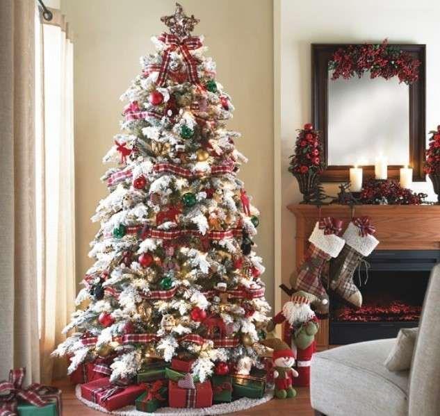 albero di natale bianco e rosso - albero di natale con fantasie