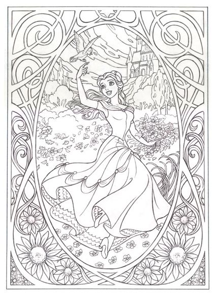 Belle. Art Nouveau. Free Coloring Page | Coloring Pages | Pinterest ...