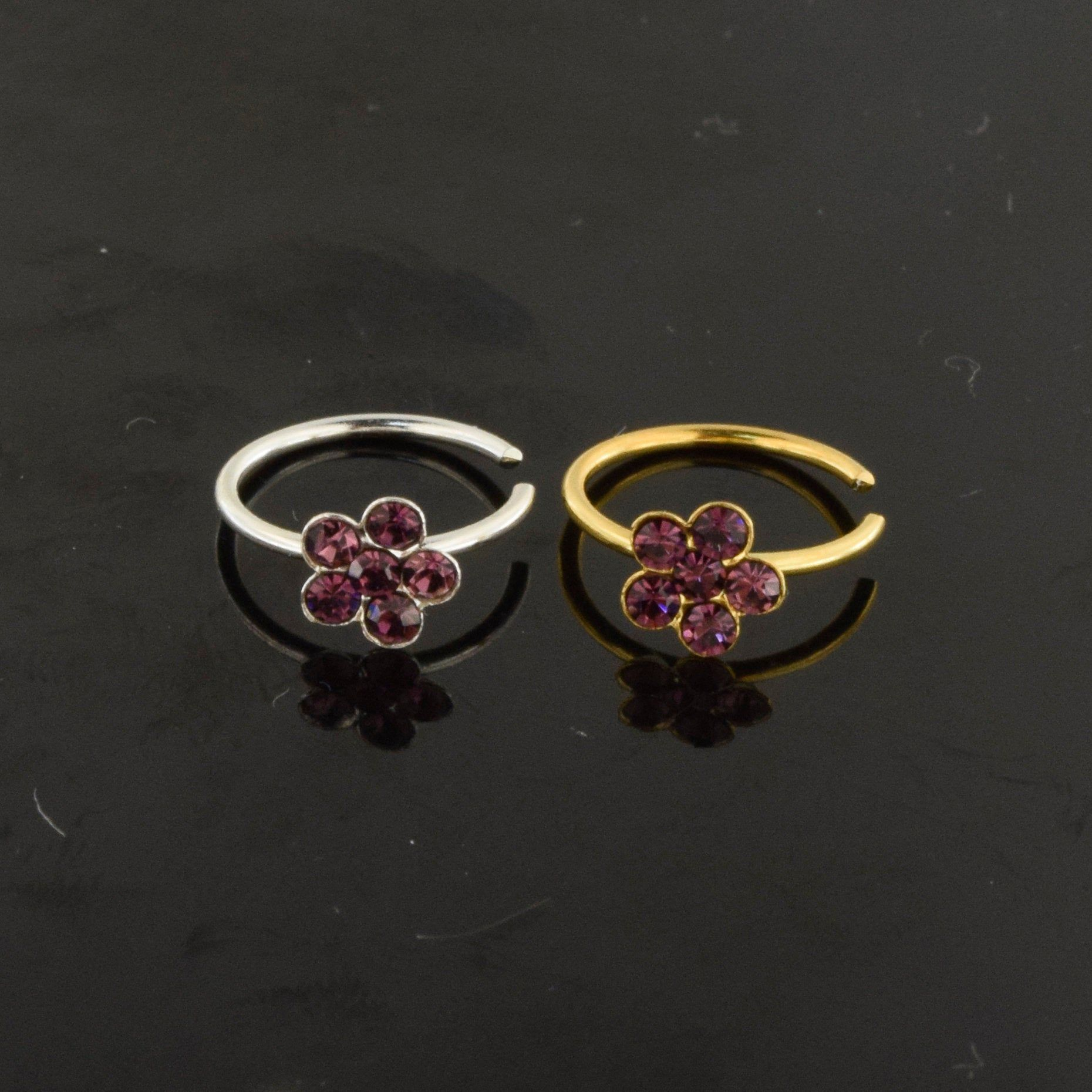 925 sterling silver flower nose ring with purple cubic