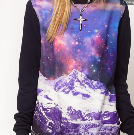 galaxy glitch designed sweater