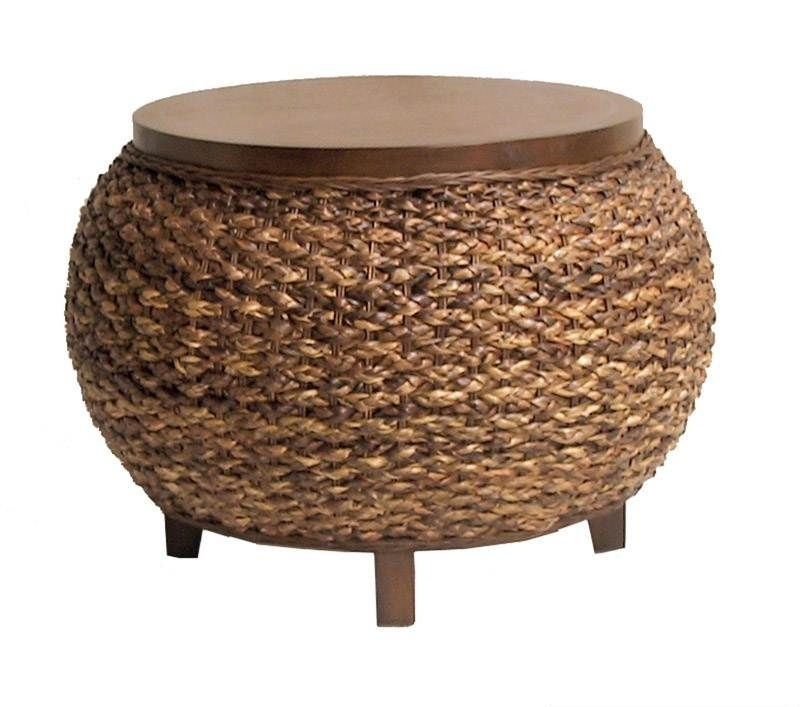 Seagrass Ottoman With Storage Chair Wicker Coffee