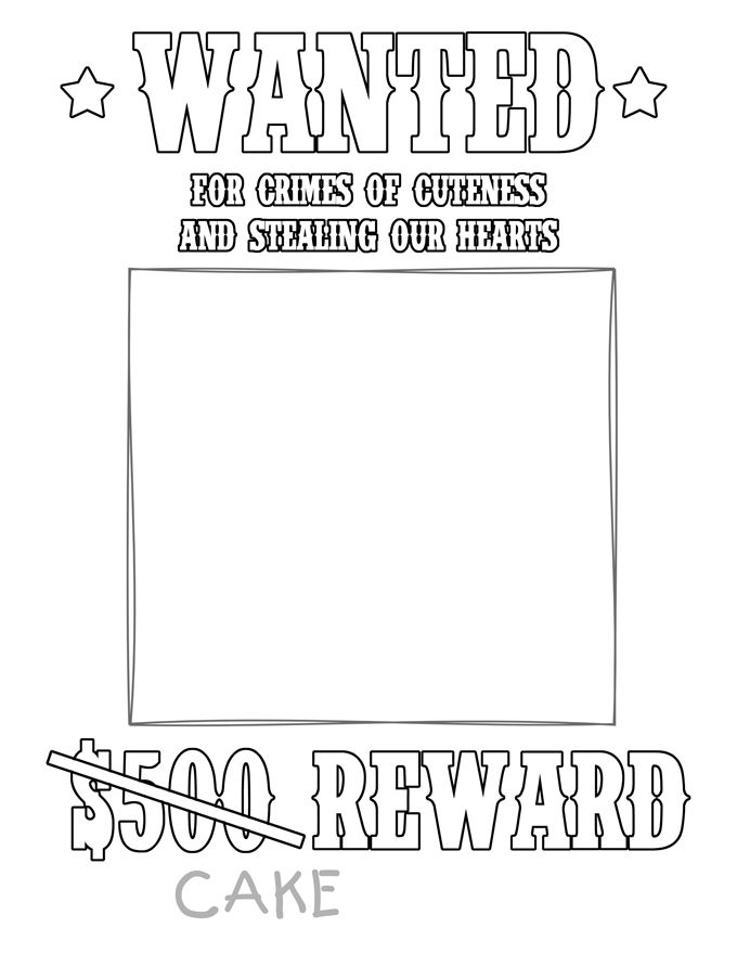 Personalized Printable Wanted Cowboy Poster Birthday Party Favor