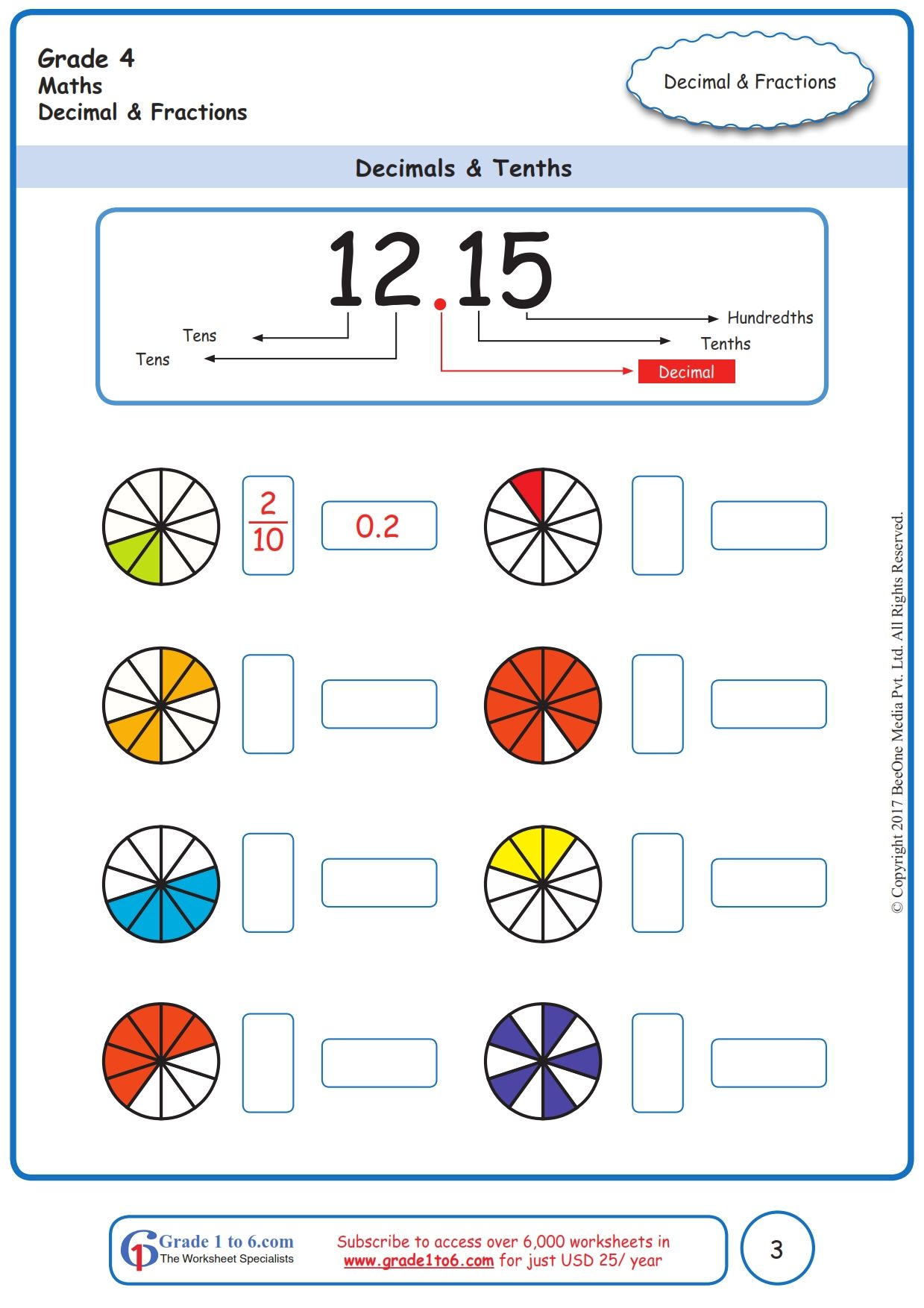 Worksheet Grade 4 Math Decimals Amp Tenths In