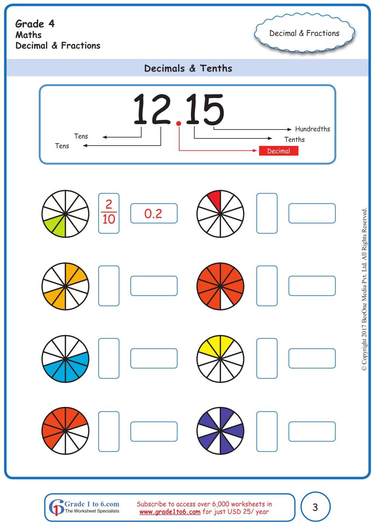 Worksheet Grade 4 Math Decimals Amp Tenths In