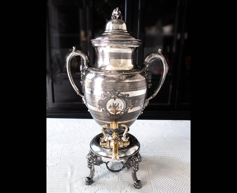 Details about  /Antique Vintage Stainless//Brass Coffee Urn Dispenser