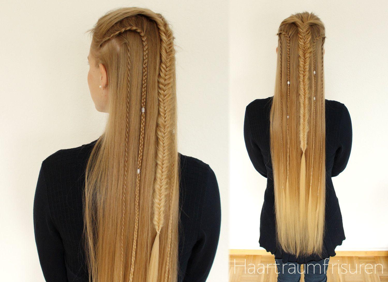 Warrior Half Up Haar Styling Frisuren Langhaar Einfache Frisuren Fur Langes Haar