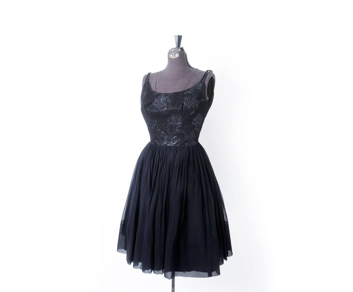 S formal black dress with brocade bodice and full chiffon skirt