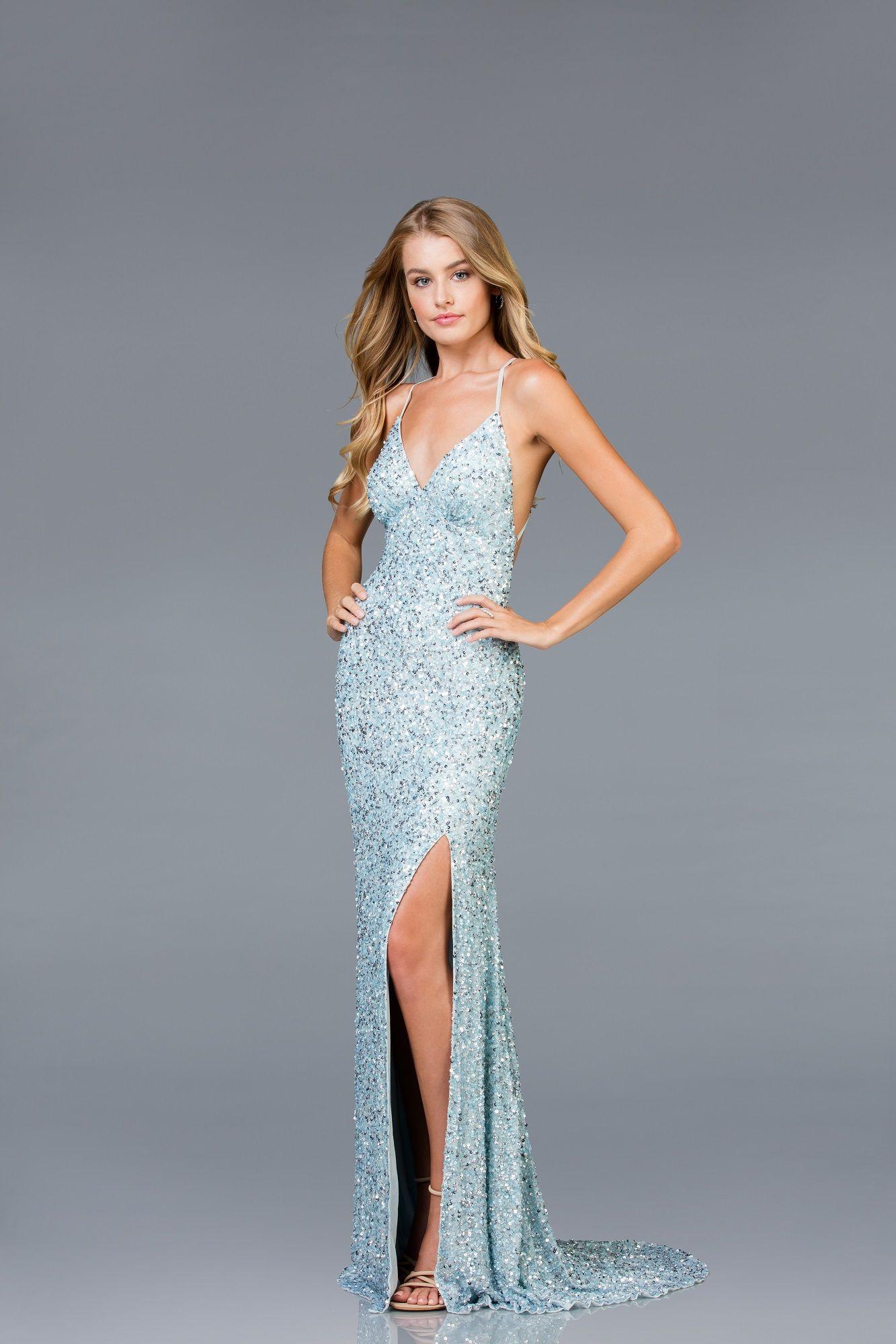 21-48938_Ice Blue_Silver | Dresses, Classy evening dress ...