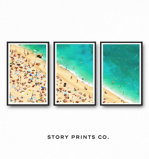 Aerial Beach Photography, Beach Wall Art Print, Triptych Wall Art, Set Of 3