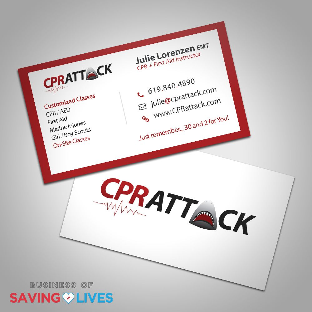 Cpr Attack Business Cards Design Who Says A Shark Lover Can T Teach Cpr Just No Letting Sharks Give Mouth To Mo Business Card Design Saving Lives Business