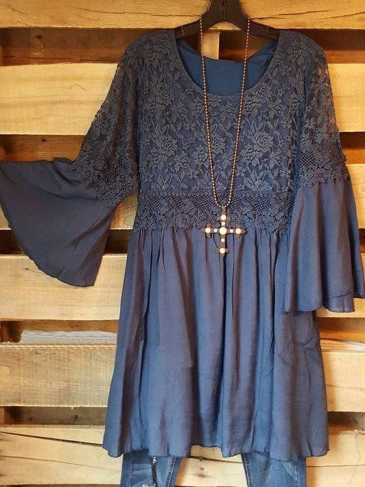 Plus Size Women Fashion Blouse Casual Loose Lace Top Dress 5
