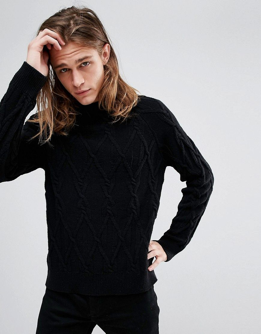 234814277a6 Bershka Chunky Cable Knit Sweater In Black | stuff | Cable knit ...