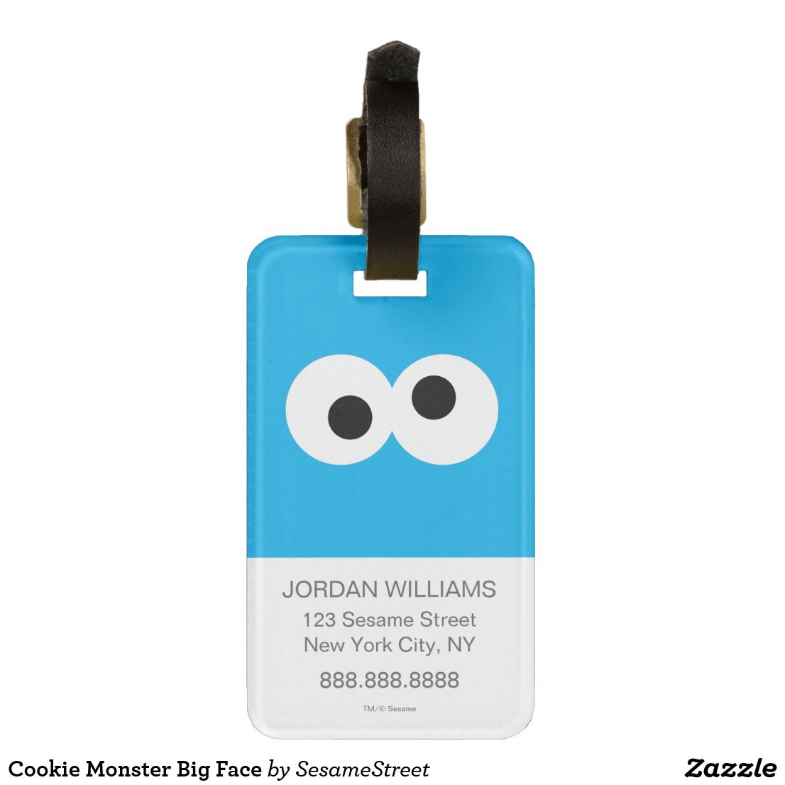 Cookie Monster Big Face Luggage Tag Zazzle Com Big Face