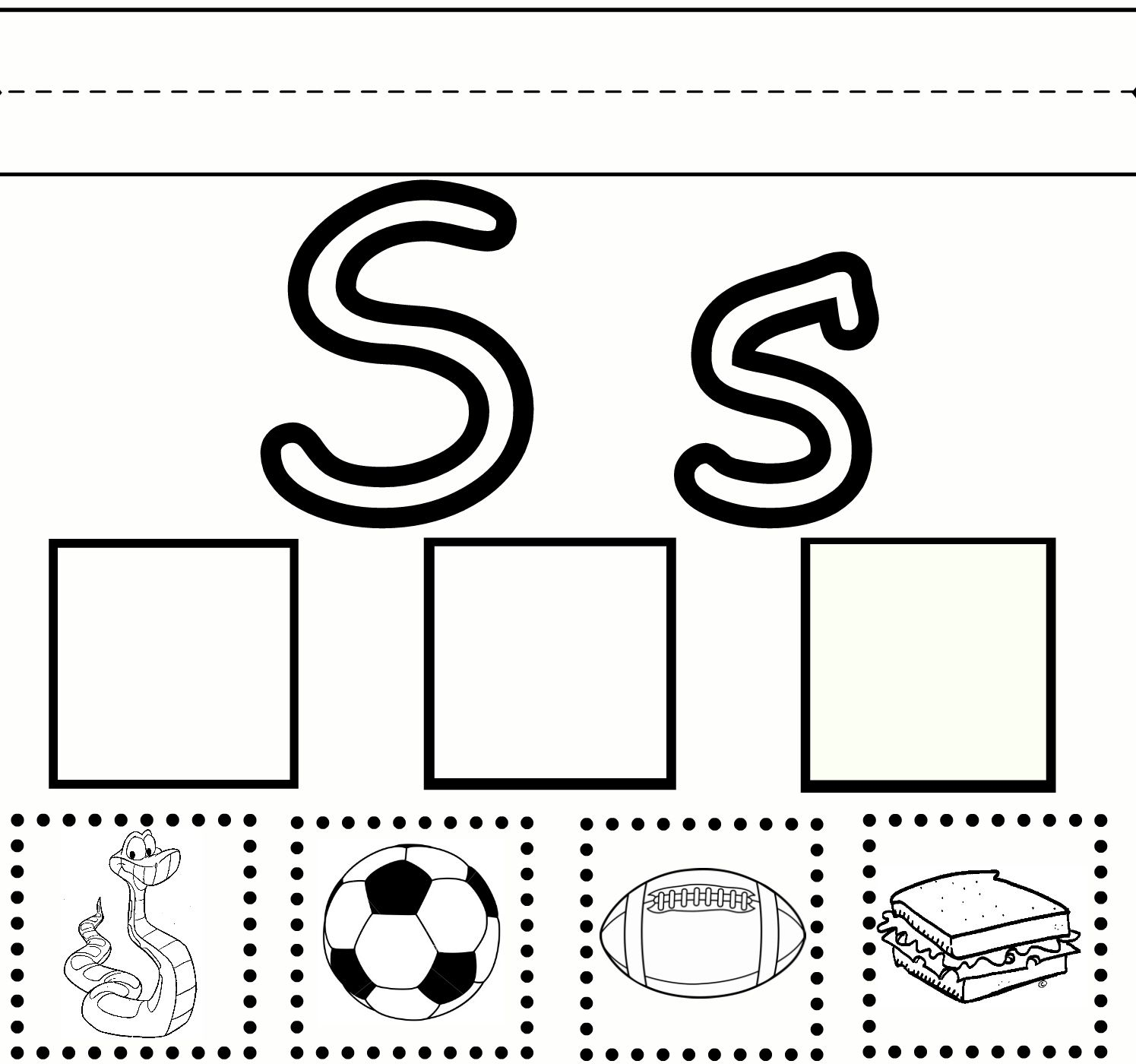 preschool learning letter s practice free printable worksheet kinder language arts. Black Bedroom Furniture Sets. Home Design Ideas