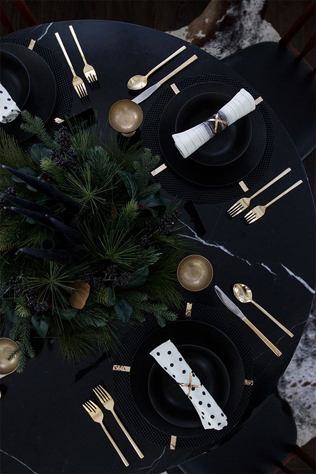black and gold luxe thanksgiving adult table // sarah sherman samuel