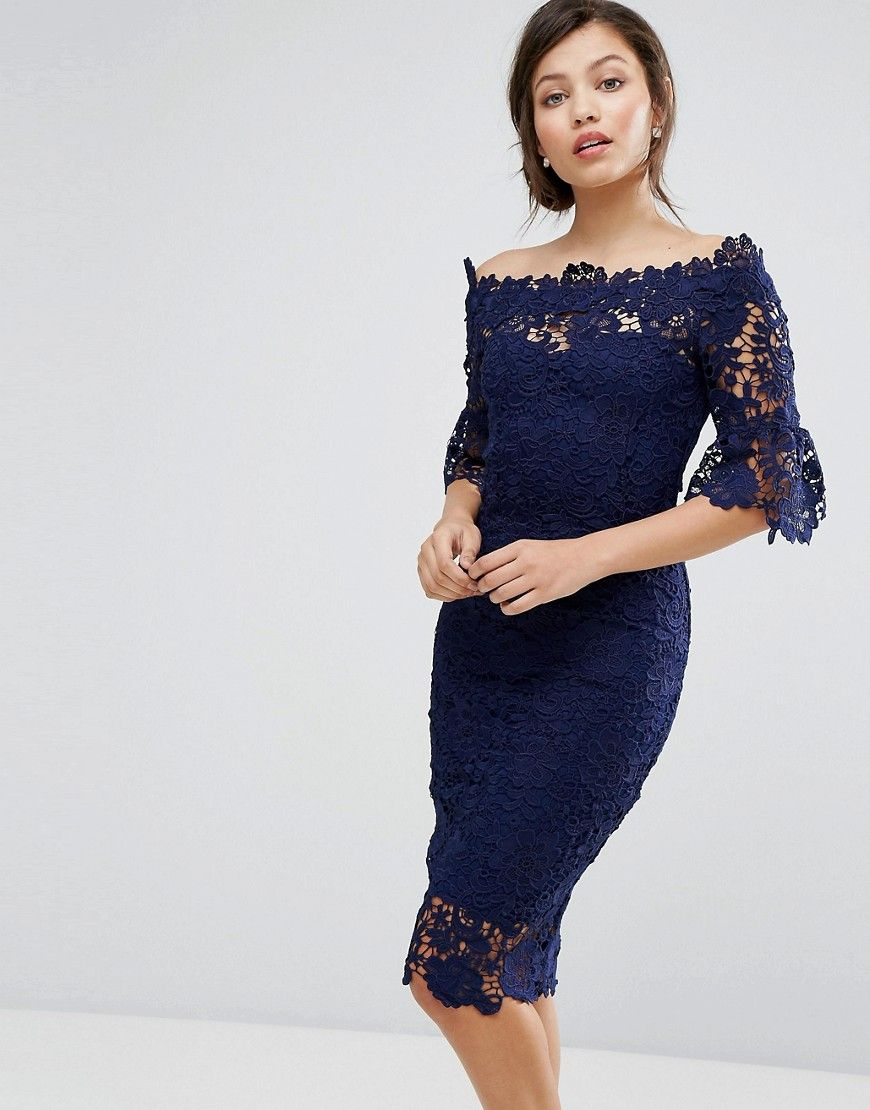 0a648e9a83071 Paper Dolls off shoulder crochet dress with frill sleeve in navy in ...